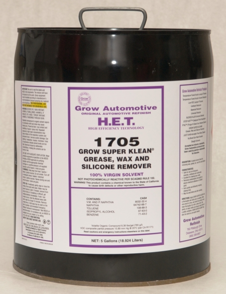 Grow Automotive 1705 Wax Grease Silicone Remover 5 Gallon